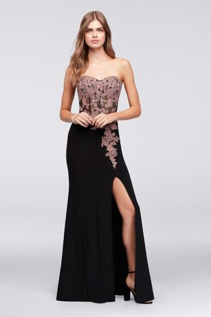 Lace Applique Corset Bodice Jersey Sheath Gown - This jersey sheath dress features trailing corded lace
