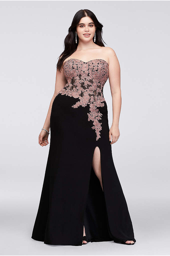 Lace Applique Corset Bodice Plus Size Sheath Gown - This plus-size jersey sheath dress features trailing corded