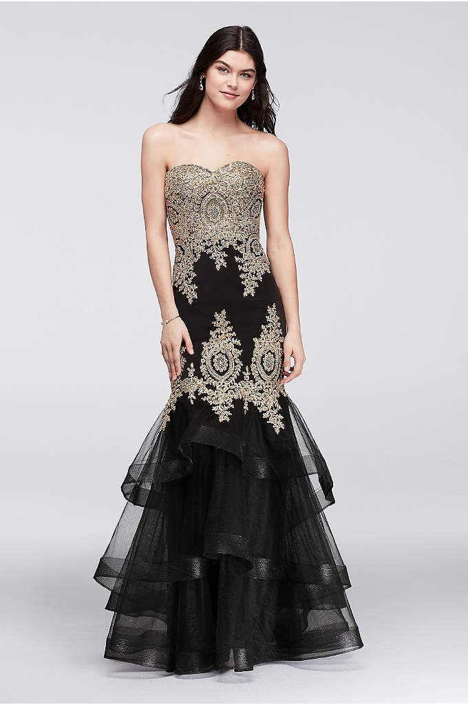 Embroidered Mermaid Gown with Tiered Skirt - Bring glitz and glam to your big night