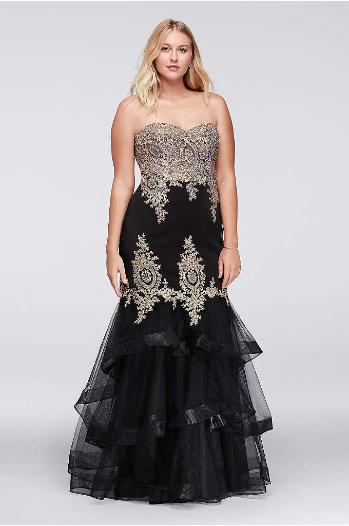 Embroidered Mermaid Plus Size Gown with Tier Skirt - Bring the glitz and glamour to your big