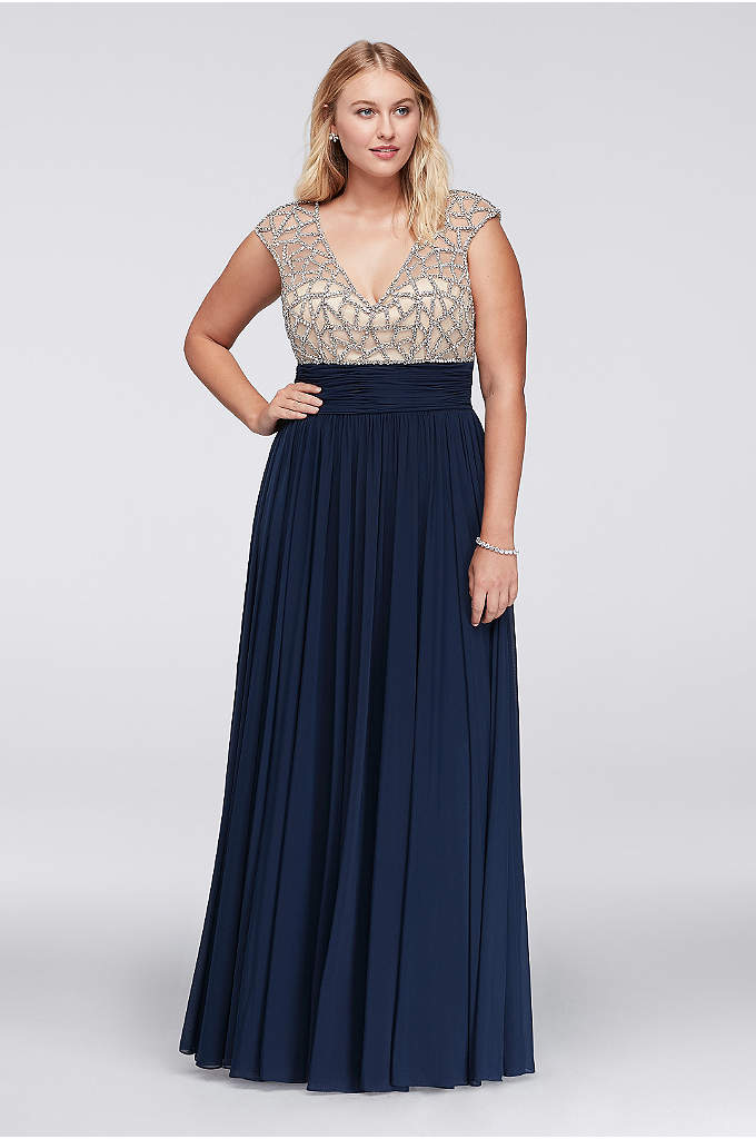 Plus size illusion faux two piece dress davids bridal for Plus size dresses weddings and proms