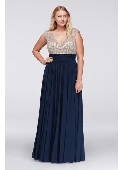 Jeweled Bodice Plus Size Dress with Cap Sleeves | David\'s Bridal