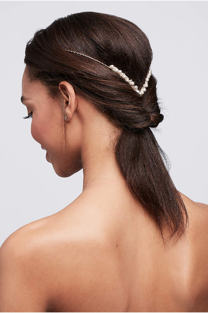 Back Headband with Graduated Pearls - This V-shaped pearl and rhinestone headband is worn