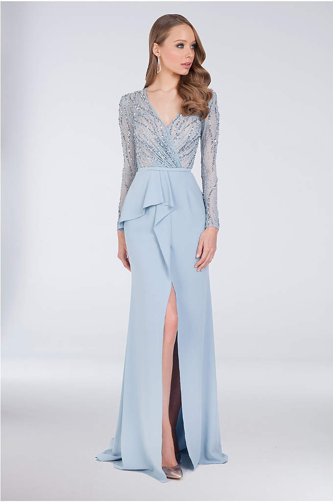 Beaded Bodice Sheath Gown with Asymmetric Peplum - A chic look for the mother of the