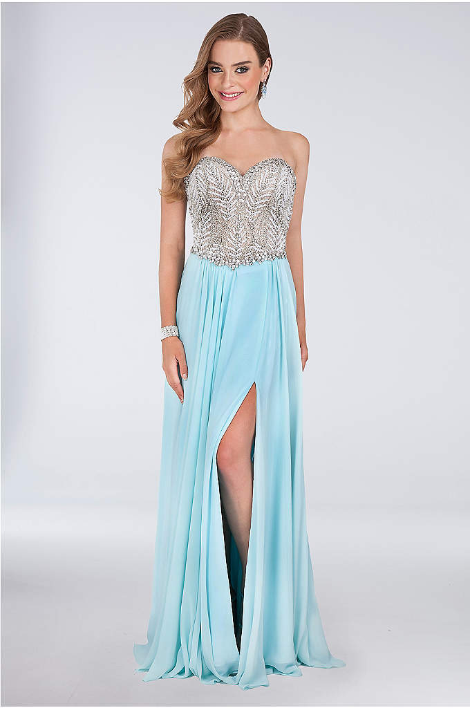 Crystal-Bodice and Mesh Corset-Back Gown - Stunning crystal beading on the sweetheart bodice and