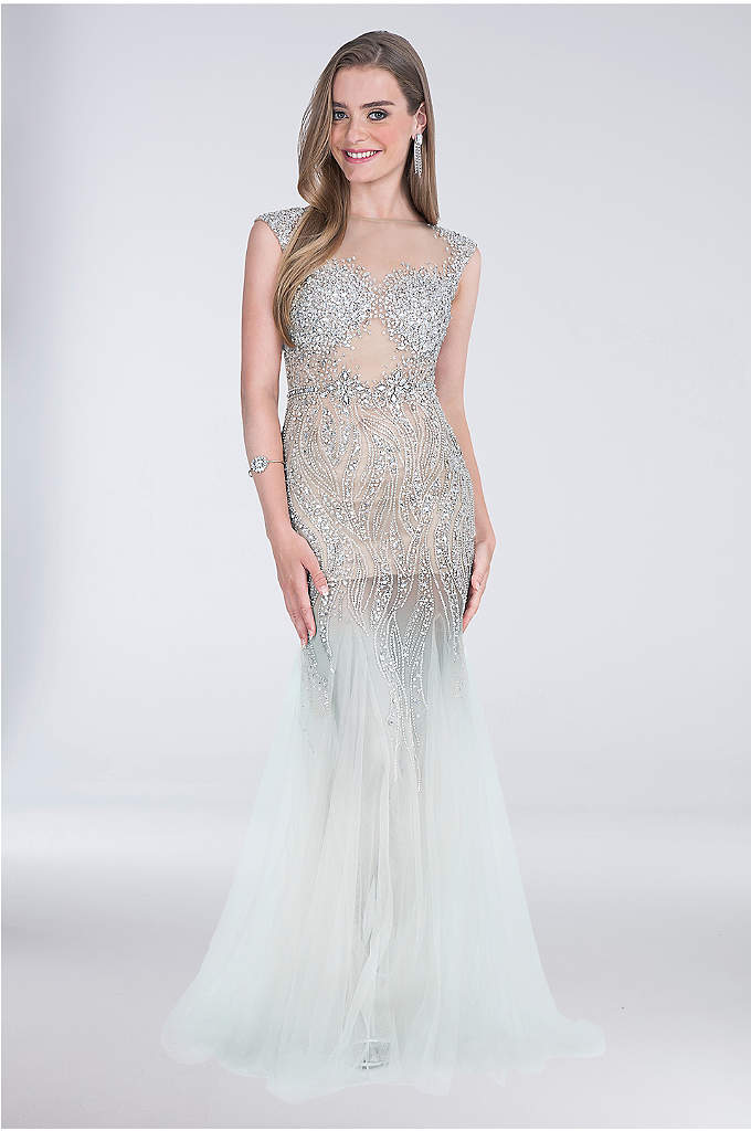 Cap-Sleeve Tulle Mermaid Dress with Beading - Get ready to sparkle in this tulle mermaid
