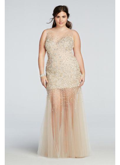 Bead Embellished Illusion Tulle Prom Dress David S Bridal