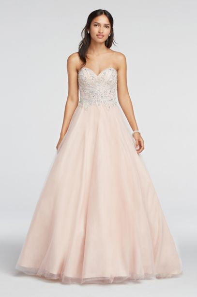 Crystal Beaded Strapless Sweetheart Prom Dress | David's Bridal