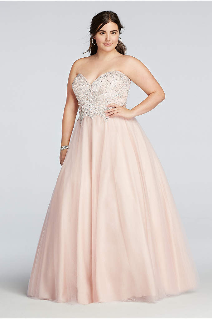 Crystal Beaded Strapless Tulle Prom Dress