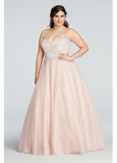 Crystal Beaded Strapless Tulle Prom Dress 1611P1243W