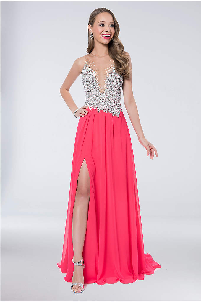 Chiffon A-Line Gown with Sparkling Bodice - The beaded illusion mesh bodice is destined to