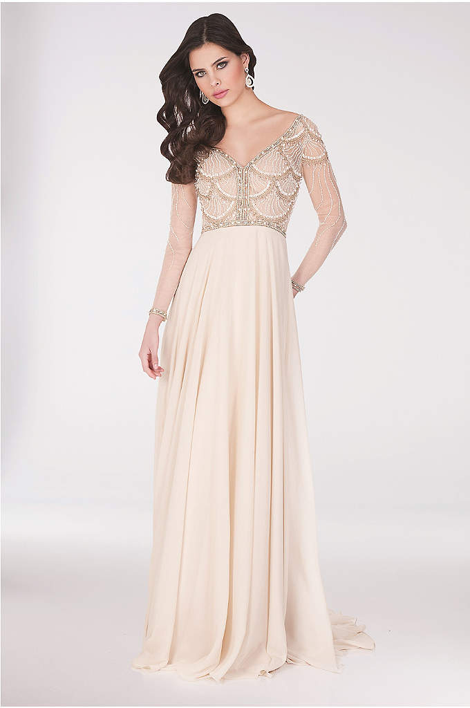 Seashell-Beaded Illusion Long-Sleeve Chiffon Gown - Seashell-inspired beading, a wide-set V-neck, and long illusion