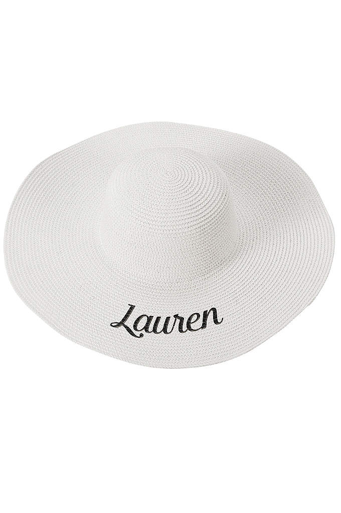 Personalized White Sun Hat - A wide brim and round top gives this