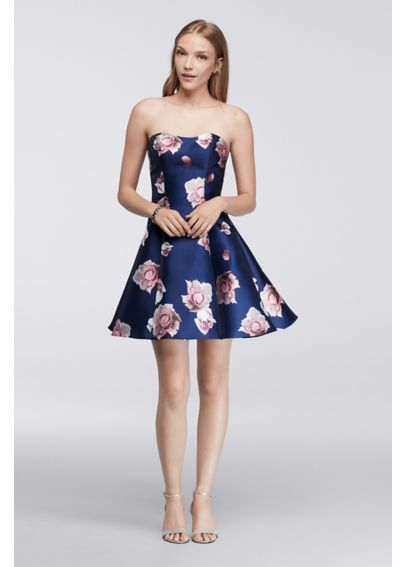 Strapless Floral Homecoming Dress 1625H2057