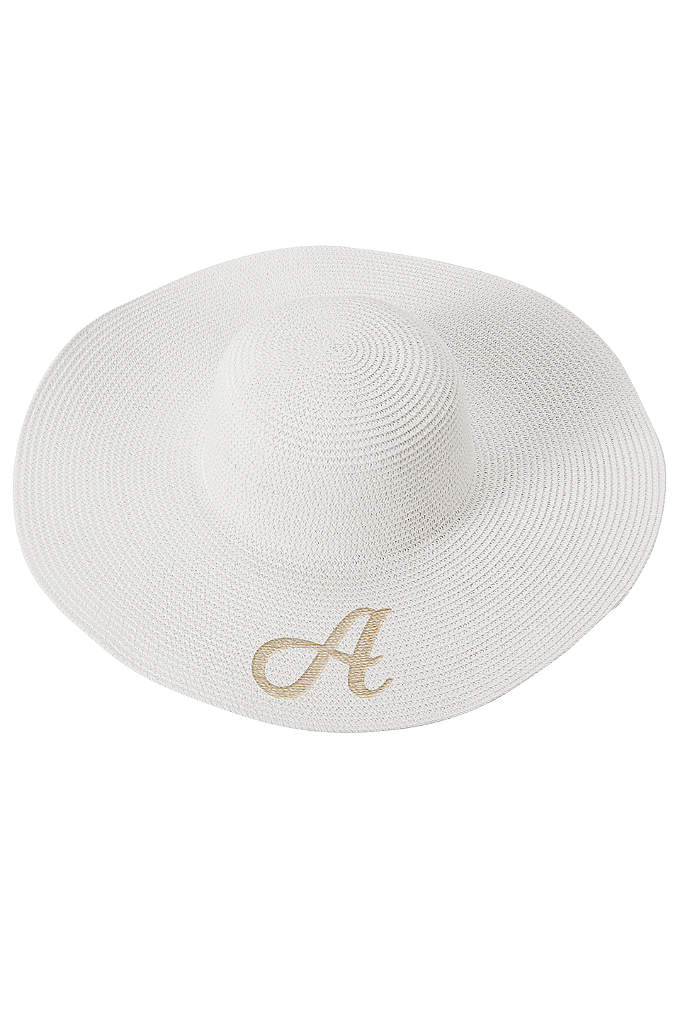 Single Initial Personalized Beach Hat - A wide brim and round top gives this