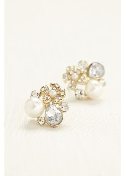 Pearl and Crystal Cluster Stud Earrings 163138