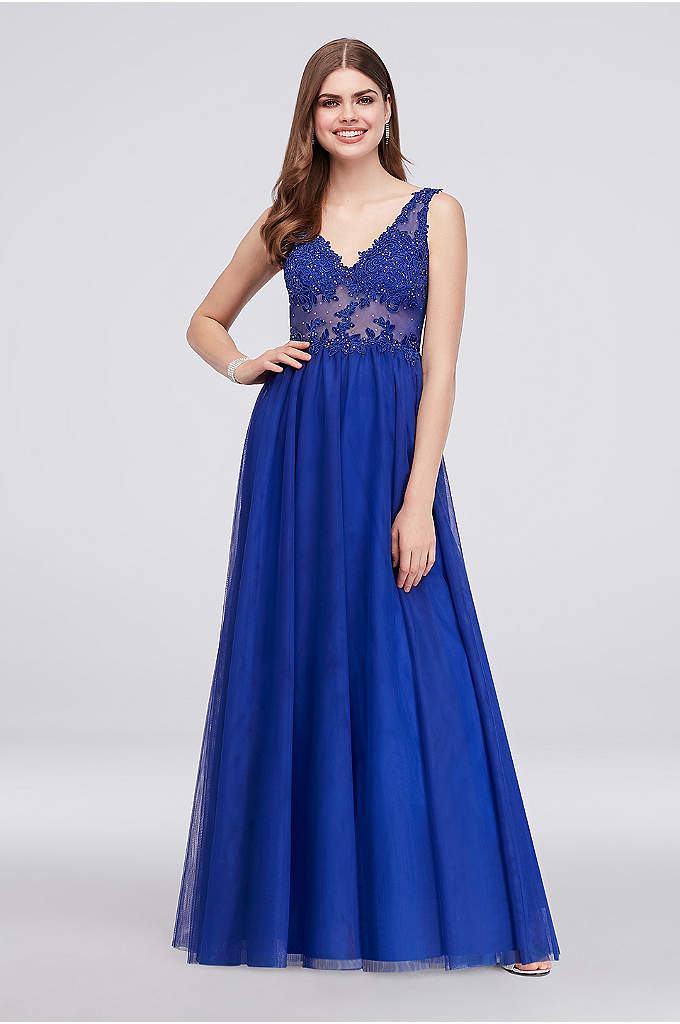Illusion Bodice Ball Gown with Lace Appliques - This V-neck ball gown is a stunner, from