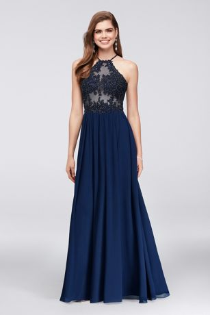 Appliqued Illusion Halter Gown with Chiffon Skirt - Tonal corded lace, studded with dark iridescent crystals,