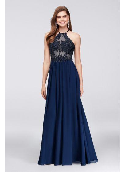 Long A-Line Halter Formal Dresses Dress - Blondie Nites
