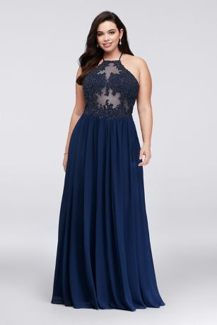 Appliqued Illusion Plus Size Halter Gown - Tonal corded lace, studded with dark iridescent crystals,
