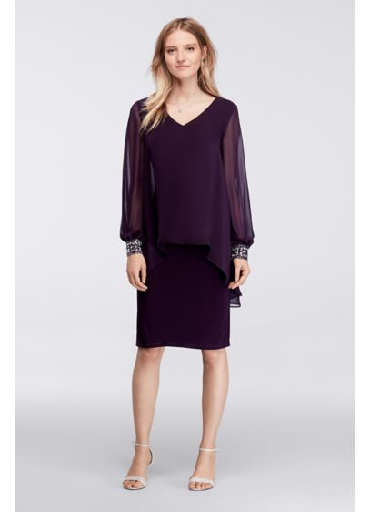 Short A-Line Long Sleeves Cocktail and Party Dress - Alex Evenings