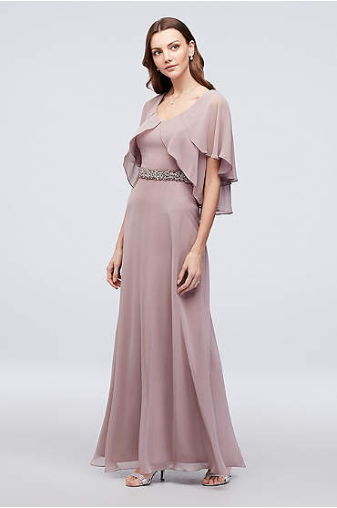 Chiffon Sheath Dress with Tiered Flutter Sleeves
