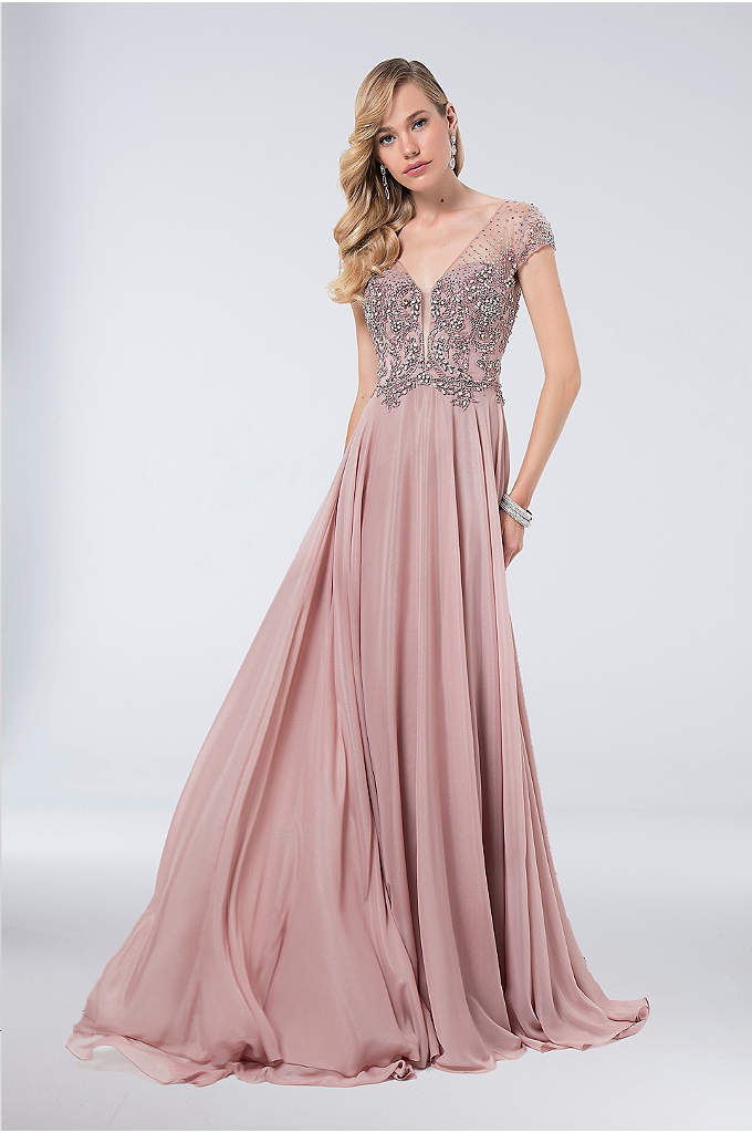 Beaded Chiffon V-Neck Gown with Scoop Back - Light, airy, and breathtaking, this chiffon A-line gown