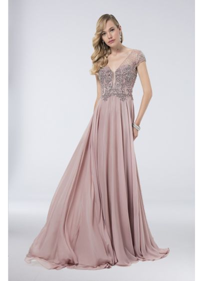 Long Ballgown Cap Sleeves Formal Dresses Dress - Terani Couture
