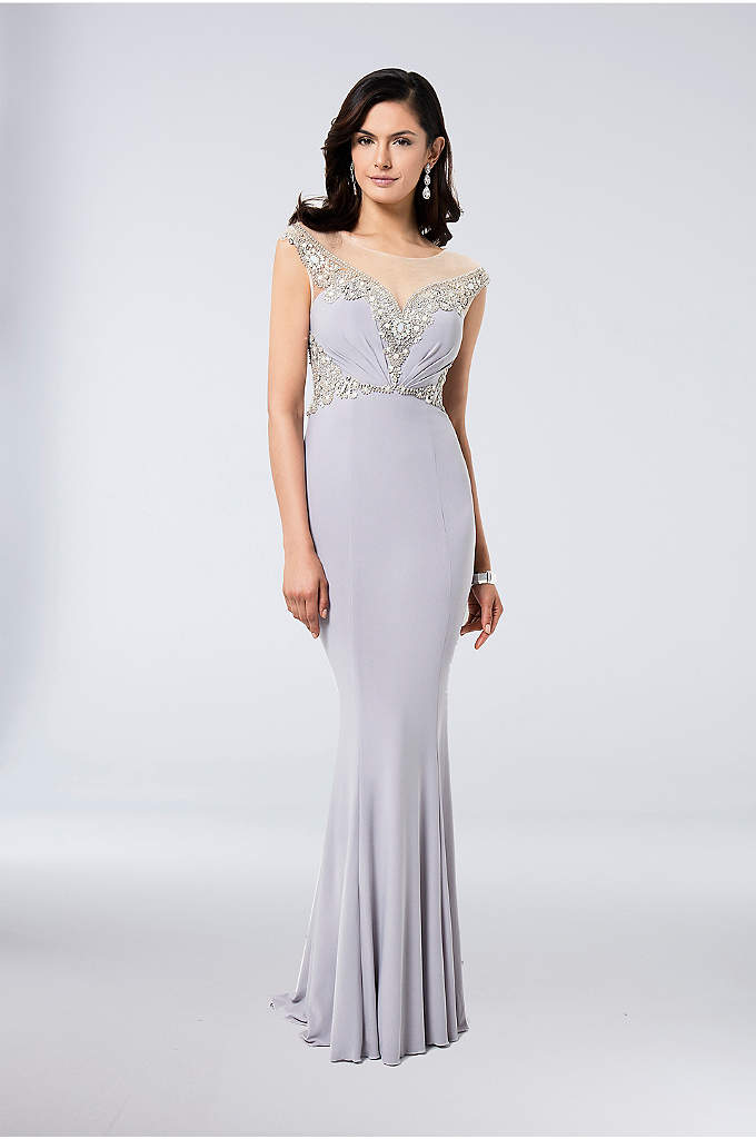 Beaded Jersey Sheath Gown with Illusion Neckline - An eye-catching look for the mother of the