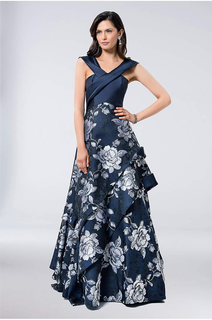 Draped Satin and Floral Jacquard Ball Gown - Unique asymmetrical draping on the bodice and cascading