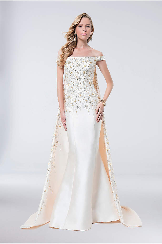 Watteau Train Embroidered Mikado Mermaid Gown - Embroidered metallic flora embellishes the off-the-shoulder bodice of