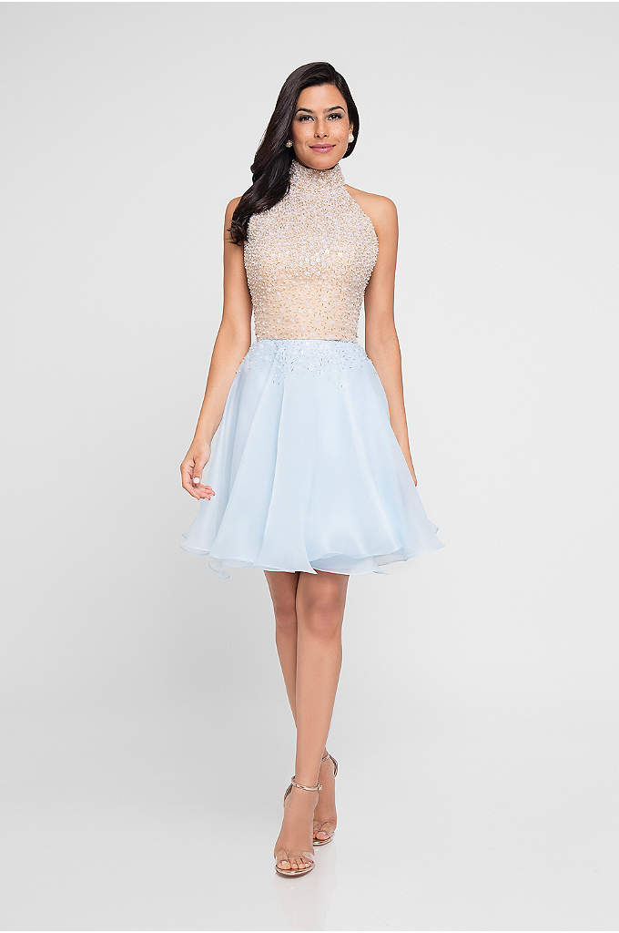 Beaded Halter-Top Short Dress - With a beaded, high-neck bodice and a short