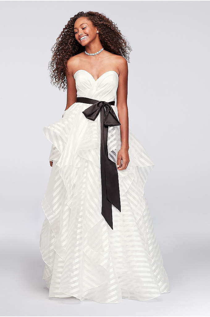 Satin and Striped Organza Ball Gown with Sash - A sweet satin bodice paired with a bold,
