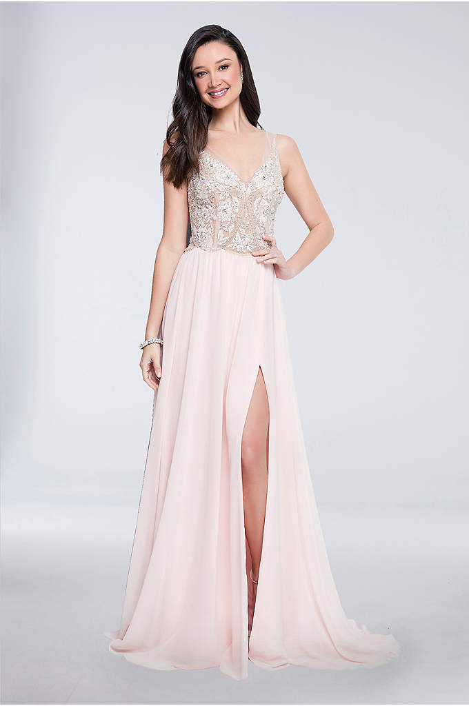 Floral-Beaded Illusion-Bodice Chiffon Gown - Chain embroidery and heavy beading bring glam to