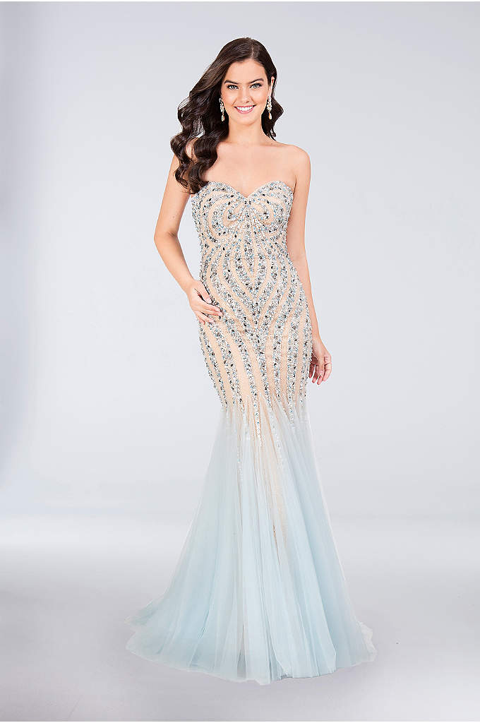 Strapless Beaded Mermaid Gown with Tulle Skirt - This curvy lace mermaid dress features intricately placed
