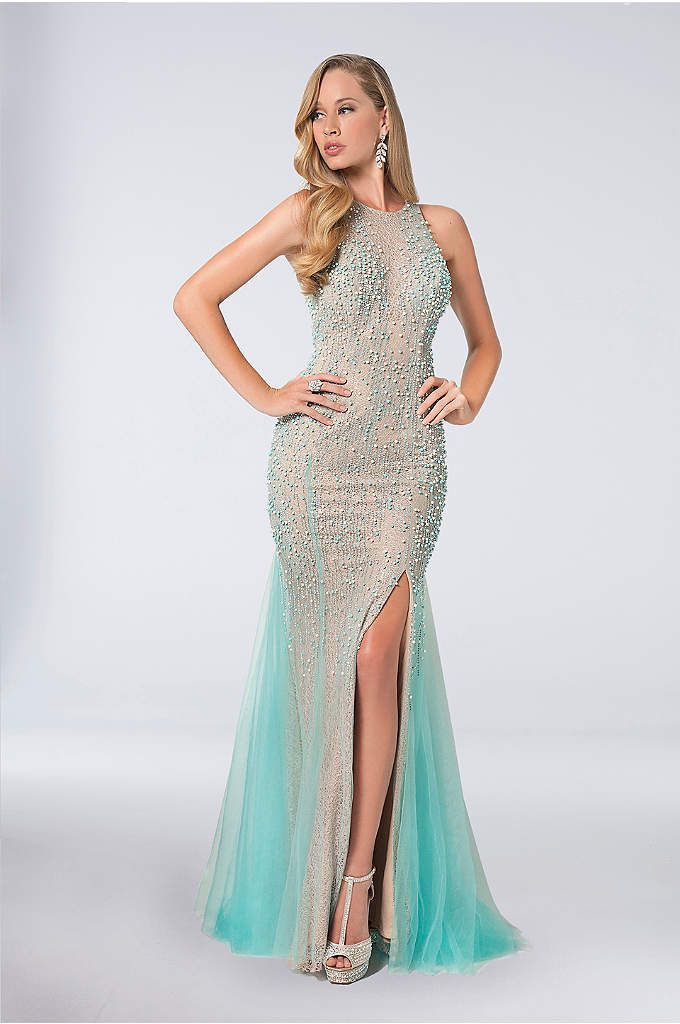 Beaded High-Neck Gown with Tulle Overlay - Pearls and crystals trail down the airy tulle