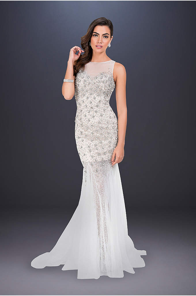 Beaded Sheath Wedding Dress with Godet Skirt - Brilliant beading glimmers atop the fitted bodice of