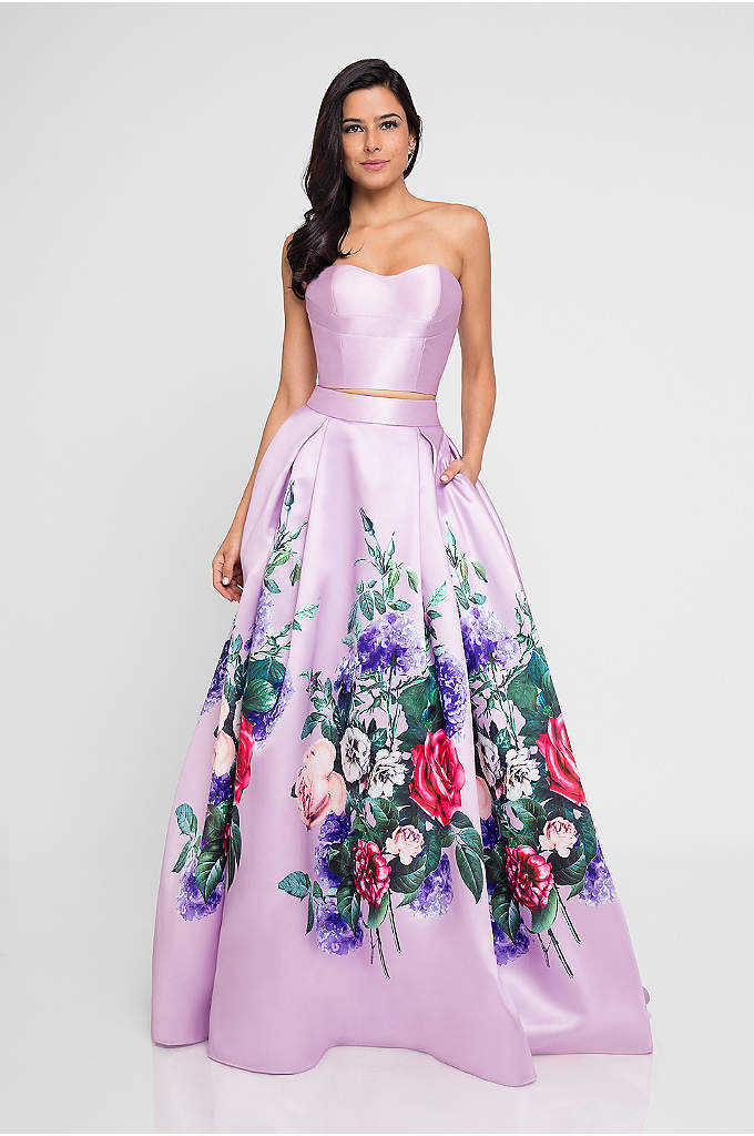 Floral-Printed Satin Two-Piece Ball Gown - Featuring a bustier-style top with a strappy back