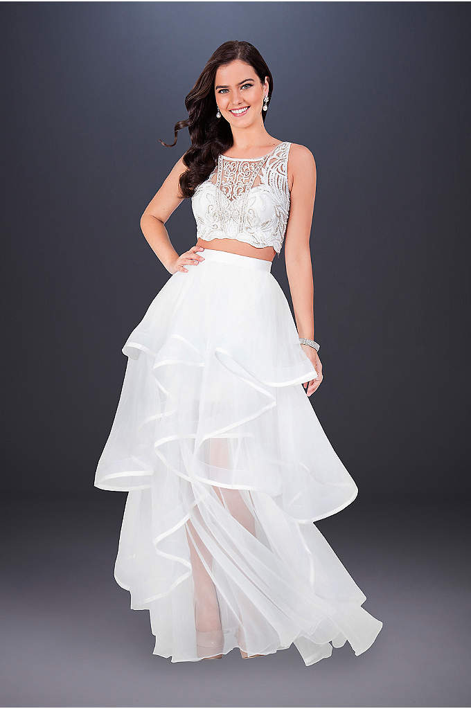 Two-Piece Wedding Dress with Embroidered Top - This fashion-forward two-piece wedding dress features a cropped