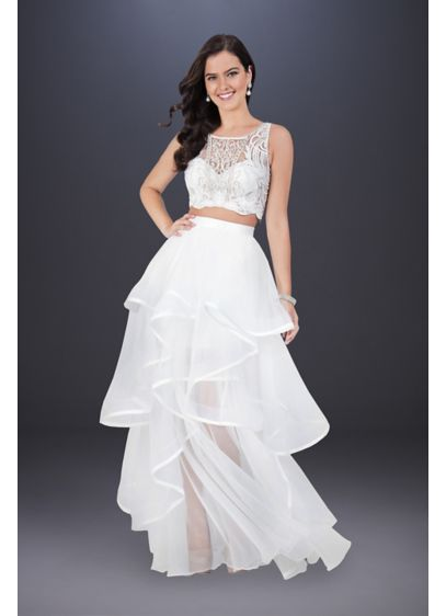 High Low Ballgown Casual Wedding Dress - Terani Couture