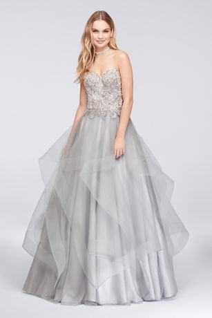 Appliqued Illusion Ball Gown with Ruffled Skirt - A dreamy dress for the belle of the
