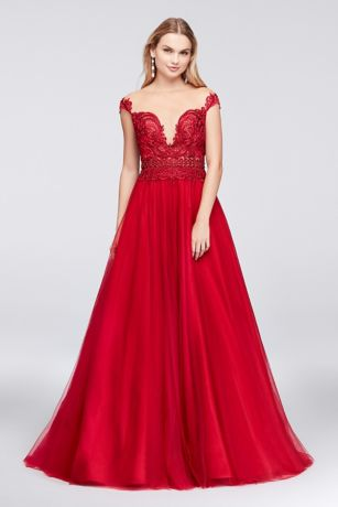 Illusion Bodice Lace and Tulle Ball Gown - This tulle ball gown's lace bodice looks barely