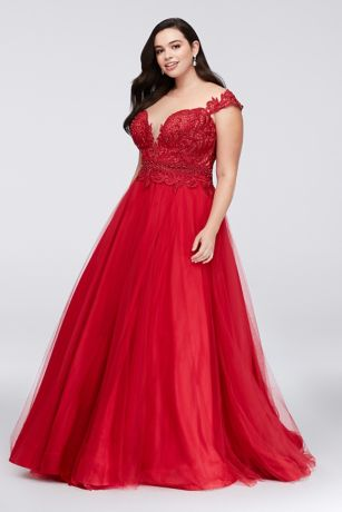 Illusion Bodice Lace and Tulle Plus Size Ball - This tulle plus-size ball gown's lace bodice looks