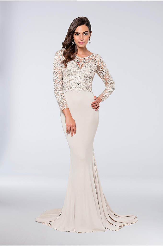 Appliqued Long Sleeve Matte Jersey Sheath Gown - The bodice and illusion sleeves of this sleek