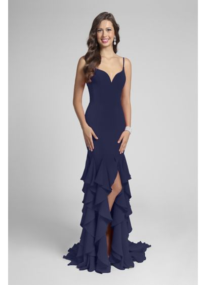 Long Sheath Spaghetti Strap Prom Dress - Terani Couture