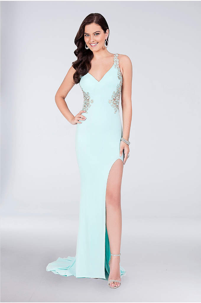 Appliqued V-Neck Jersey Gown with Open Back - Crystal-embellished floral appliques add a romantic touch to