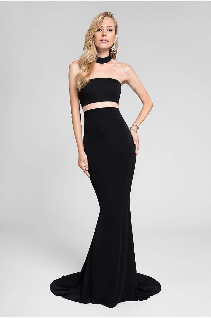 Stretch-Jersey Illusion Racerback Trumpet Dress