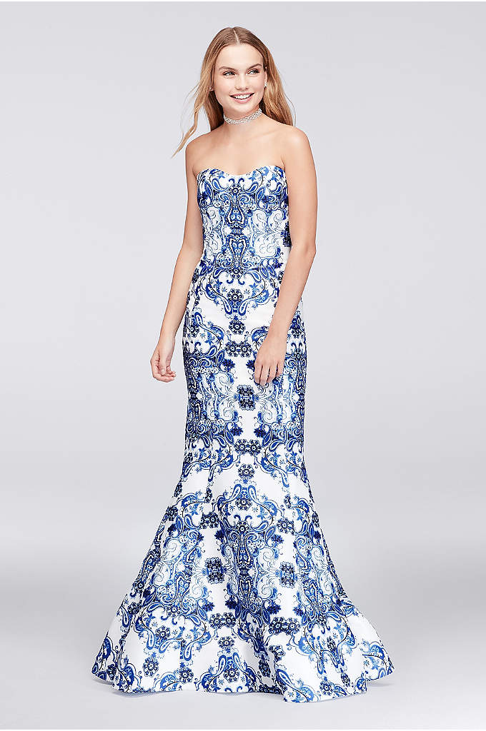 Paisley Print Mikado Mermaid Gown - Nothing says classic like a structured mikado mermaid