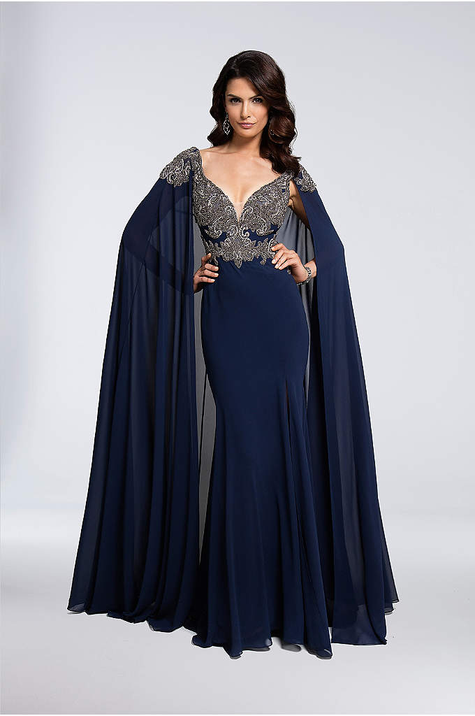 Jeweled Jersey Trumpet Gown with Chiffon Cape - This stunning jersey gown features a beaded and