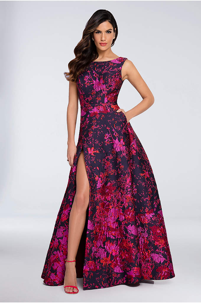 High-Neck Floral Brocade Ball Gown with Open Back - Dominate the dance floor in this vibrant floral